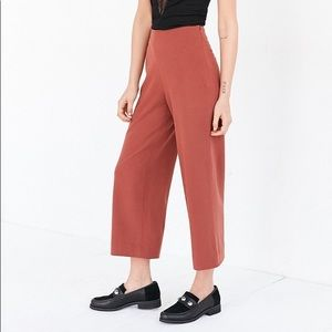 Rust Wide Leg Cropped Pants
